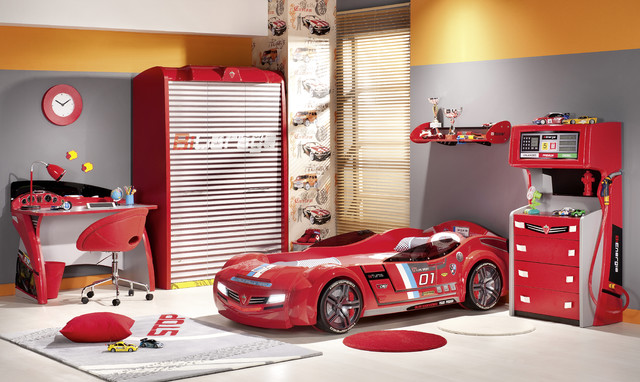 modern car bed design for kids in red
