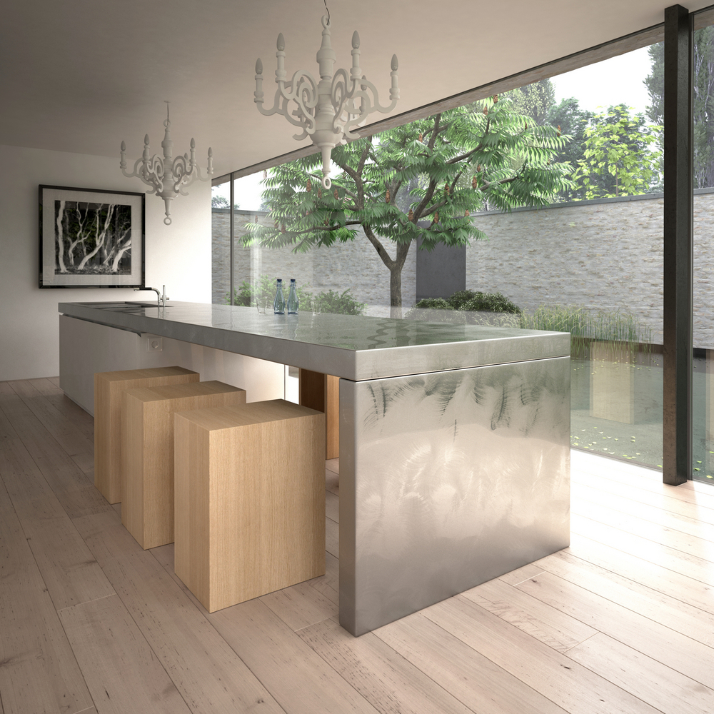Modern Large Sized Metal Kitchen Island Table Combination With Sink Plus  Faucet And Unfinished Wooden Blocks