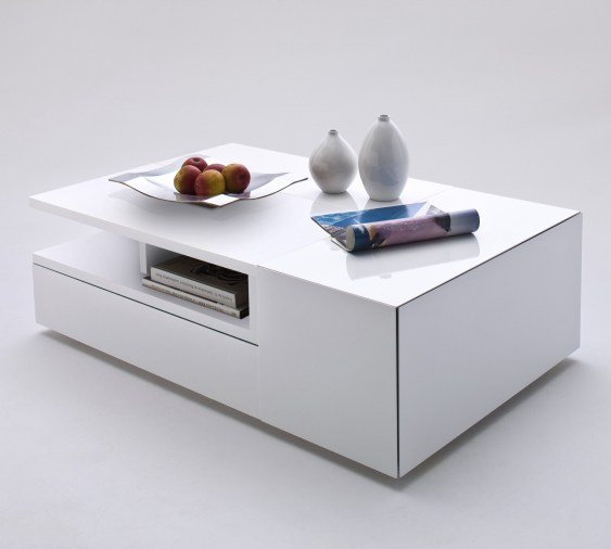 Modern Minimalist Coffee Table Idea In White With Under Bookshelves