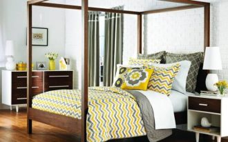 Modern pattern bedcover in blue and yellow tone colors by Jonathan Adler
