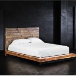 Modern rustic king bed frame idea with headboard a white bedding and pillows