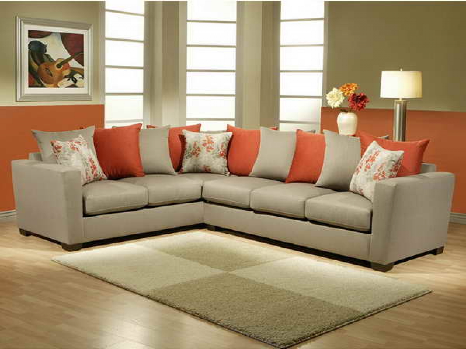 Most comfortable sectional sofa - Most Comfortable Pillow Couch With Orange And Grey Rug