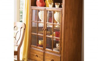 Mounted Cabinet With Two Drawers Near Yellow Curtain And Chair
