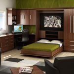 Murphy bed product L shaped workstation plus storage underneath a wall wooden shelf