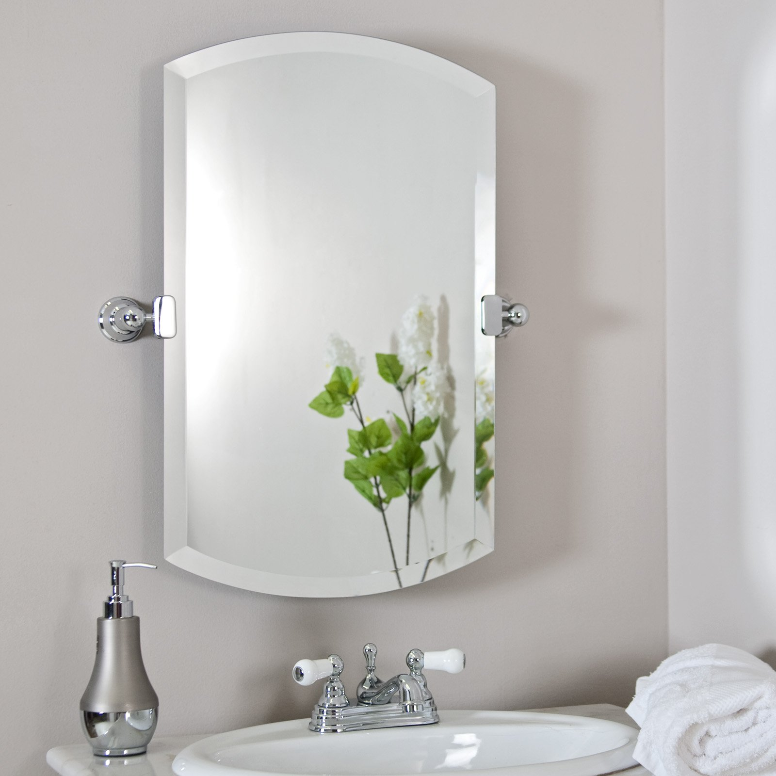Brushed Nickel Bathroom Mirror as Sweet Wall Decoration | HomesFeed