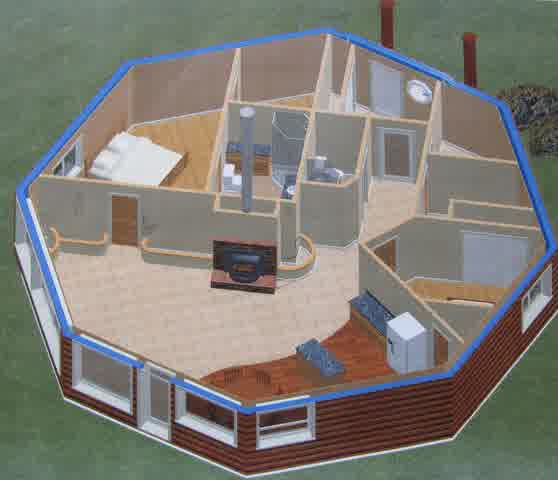Octagon cabin plans with one bedroom one bathroom a kitchen with brown floor many small windows with wooden brown wall