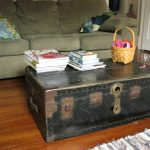 Old look and shabby black trunk coffee table two piles of books a knitted dried root basket for storing small stuffs