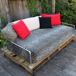 Outdoor daybed mattresss idea with animal skin prints cover and multicolor pillowcases