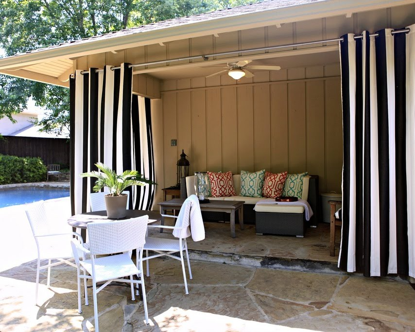 Exceptional Outdoor Patio Drape Idea In White And Black Strip Pattern A Set Of Patio  Furniture In