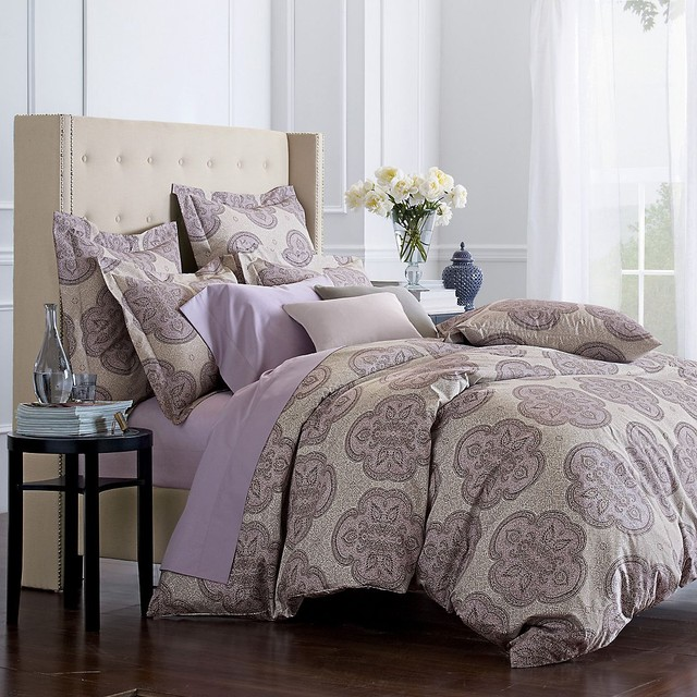 Oversized Duvet Cover Idea With Clic Pattern Round Black Wood Bedside Table Undershelf