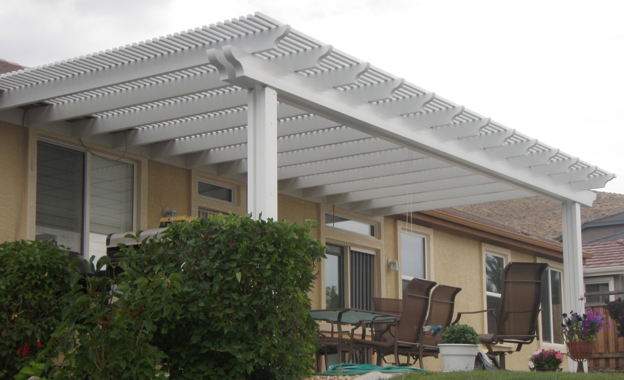 Nice Patio Cover Wooden With Outdoor Chairs