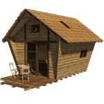 Pentagon-cabin-plans-front-door-with-porch-and-white-chairs-and-table-also-two-window-at-the-loft-and-two-window-in-the-left-side