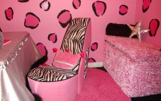 Pink Zebra Girl Theme On Wall Painting Chair And Storage Place With Fur Rug