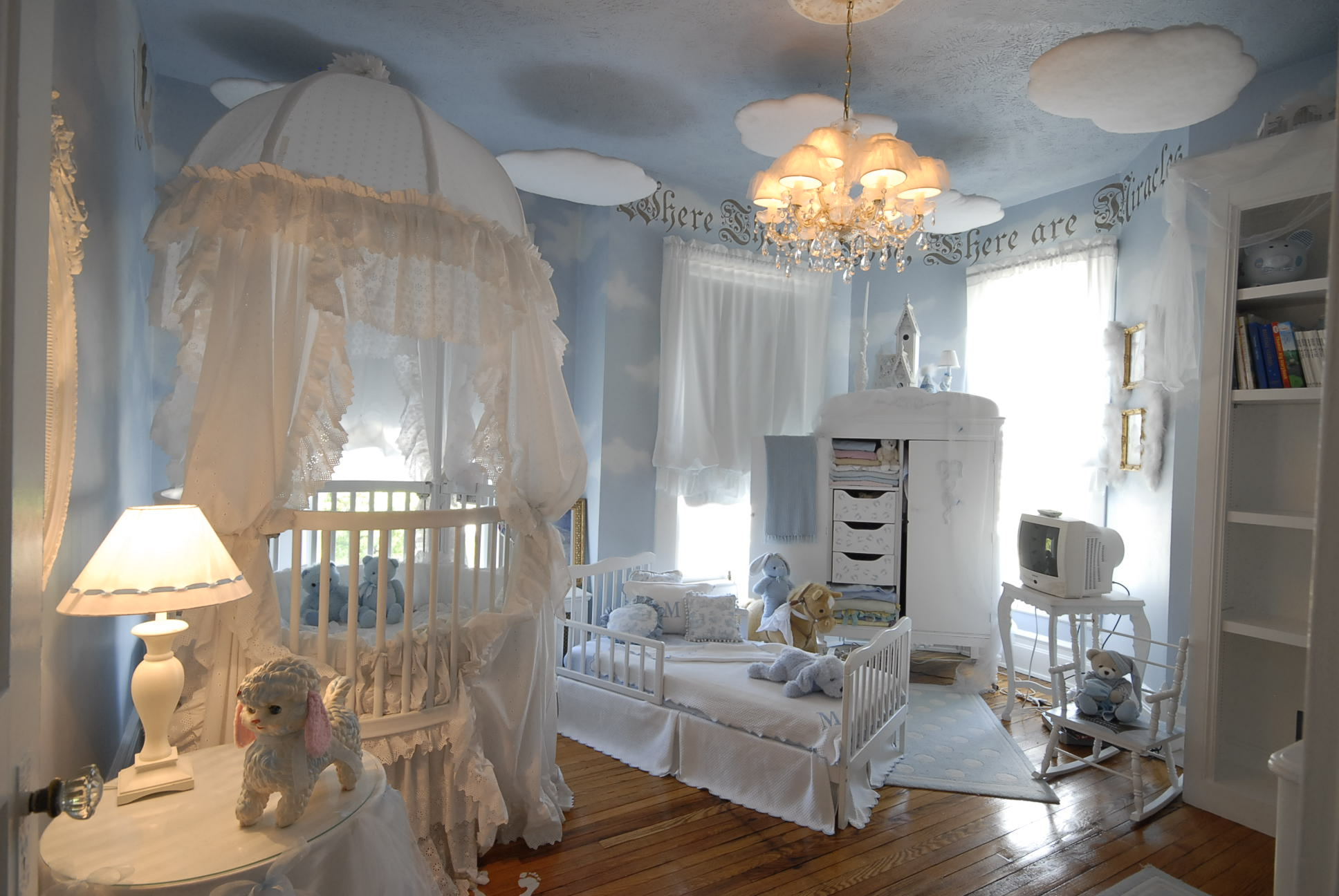 Pretty Soft Baby Boy Bed Theme With White Color Crib And Bed Cabinet And  Shelf Large