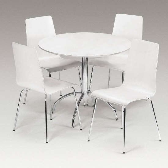 White Kitchen Tables And Chairs: Round Dining Table Set For 4