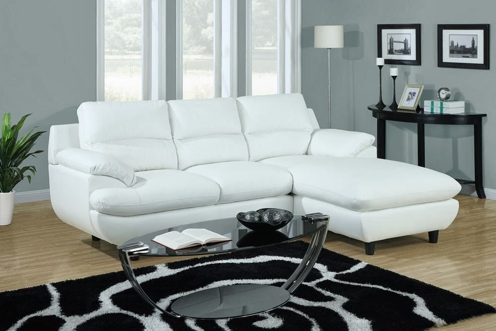 Pure White Small Sectional Idea With Chaise For Modern Living Room Cool And Glossy Black