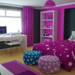 Purple Accent For Teenage Bedroom With White And Chair Desk Carpet And Cabinet