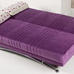 Purple Bed Sofa For Minimalist Room And Apartment With Decorative Pillows