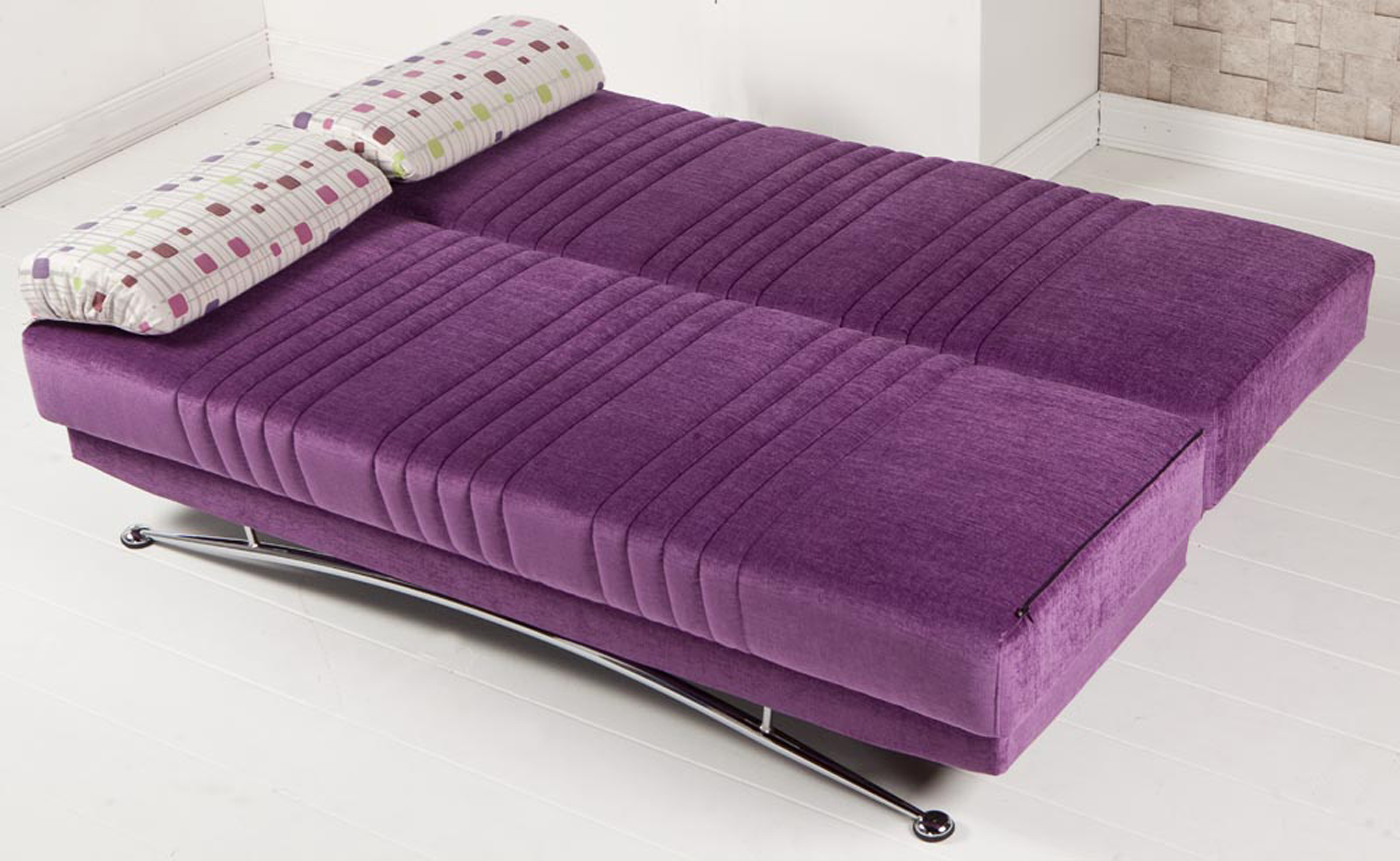 Purple futon bed chair that turns into bed homesfeed for Chair that turns into a bed ikea