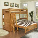 Queen Loft Bunk Bed With Wooden Style For Adults With Drawers Near Oval Rug