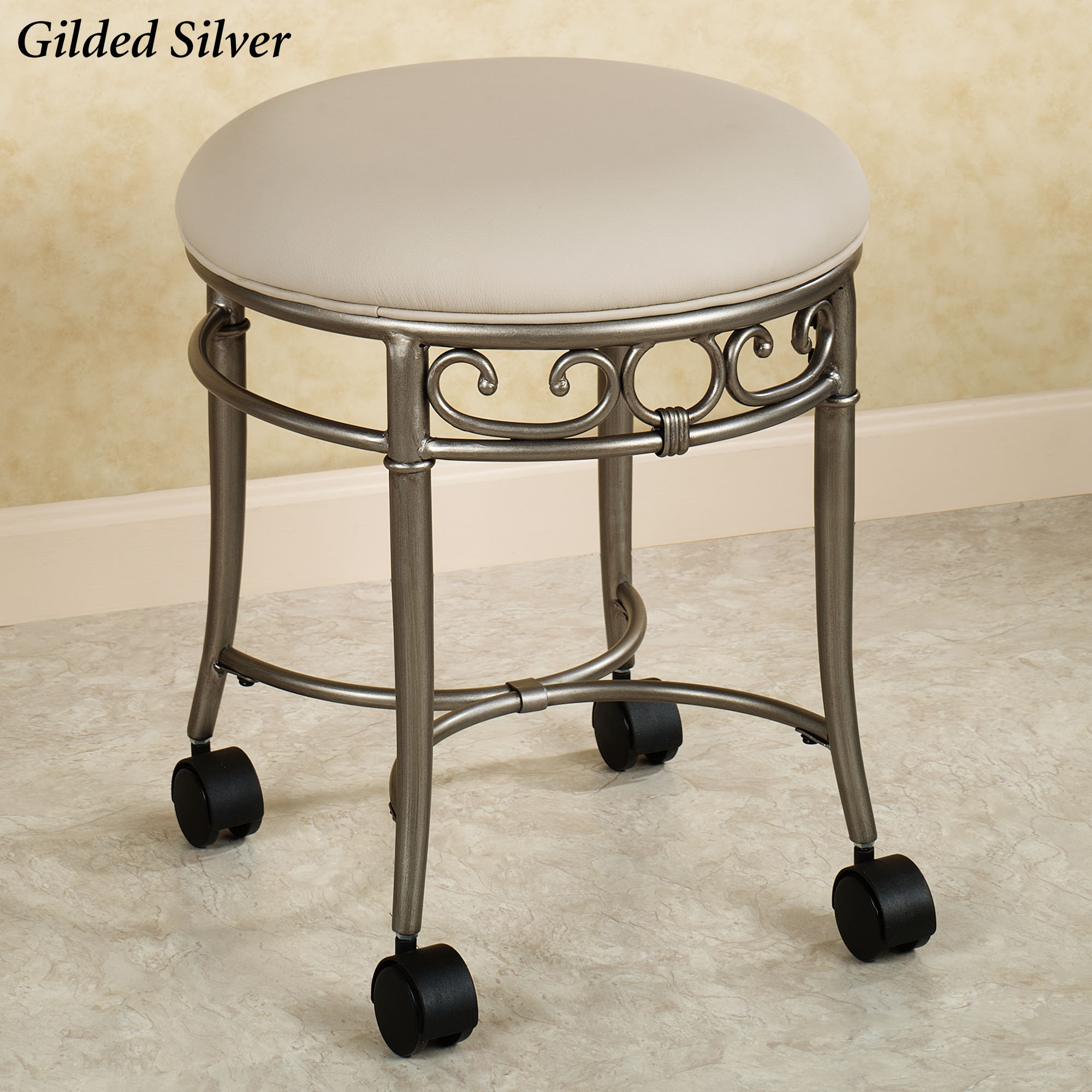 Flare Back Powder Coat Nickel Finish Vanity Chair. Furniture ...