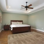 Recessed wood ceiling fan idea for simple bedroom a bed furniture with headboard and footboard features a bedside table with storage a grey wool bedroom rug