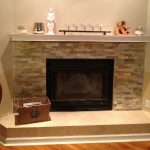 Rectangle Cream Marble Fireplace With Design Tiles