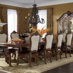 Rectangular Dining Room Set Wooden Furniture Large Carpet With Classic Chandelier