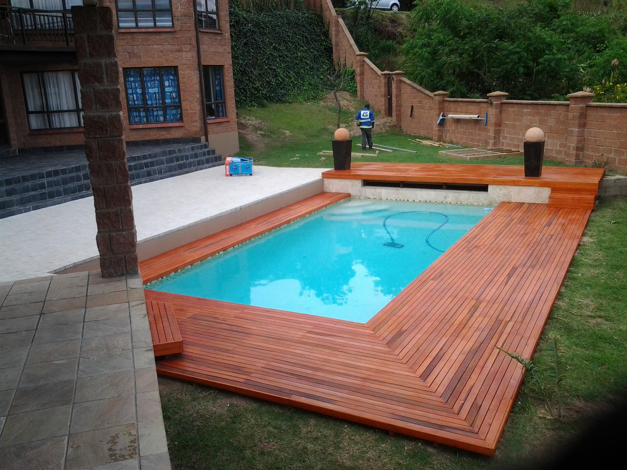Rectangular Pool Designs tropicana 2a Rectangular Pool With Wooden Deck