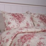Red Flower Bedding On Pillows And Bed Cover White Bed Frame