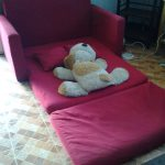 Red Sofa Changes Into Bed WIth Dog Doll