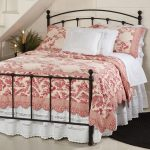 Red Toile Bedding With White Bed Pillows And Bed Cover Stainless Steel Frame