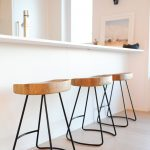 Restoration Hardware Counter Stool In Kitchen With White Elegant Style And Three Decorative Wooden Chairs