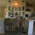Restoration Hardware Counter Stool In Small Kitchen With One Stylish Chandelier Three Chairs And Big Cabinet