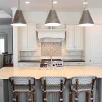 Restoration Hardware Counter Stool With Three Main Chairs Three Cool Lamps In White Kitchen Style