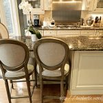 Restoration Hardware Toledo Counter Stool With Three ROund Chairs White Cabinet