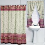 Romantic-victorian-shower-curtain-set-with-victorian-window-curtains-and-white-sink-near-white-window-also-white-wall-and-white-floor