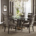 Round Table Chairs Dining Room Set Brown Theme On Wallpaper With Carpet Fresh Flower Accessories