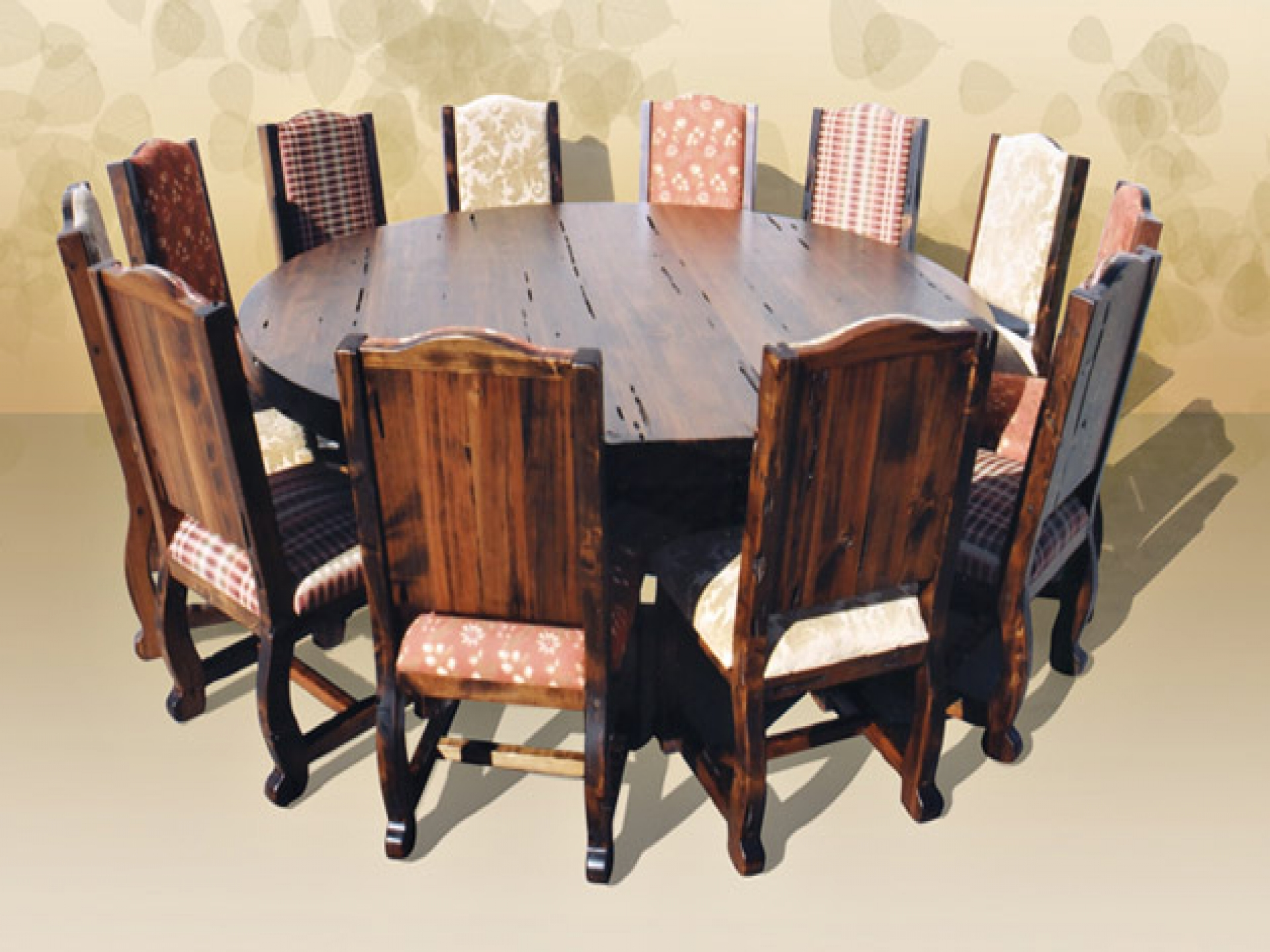 Dining room table seats 12 for big family homesfeed for Round wood dining room table