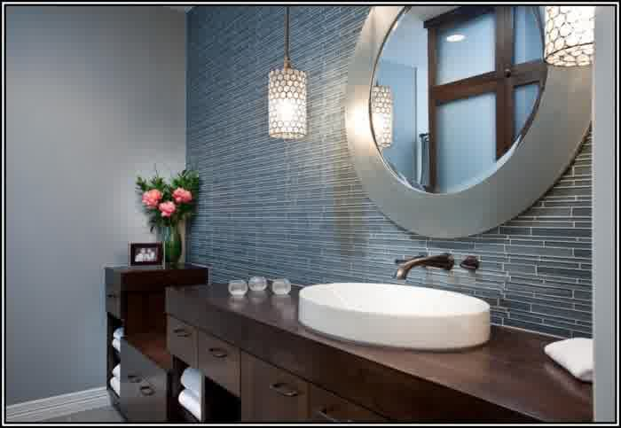 Round Decorative Mirror With Nickel Frame Large Wood Bathroom Vanity White Sink And Wall Mounted