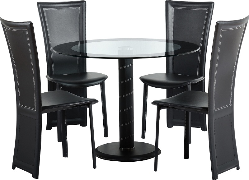 Round Glass Top Dining Table For Four Black Leather Chairs