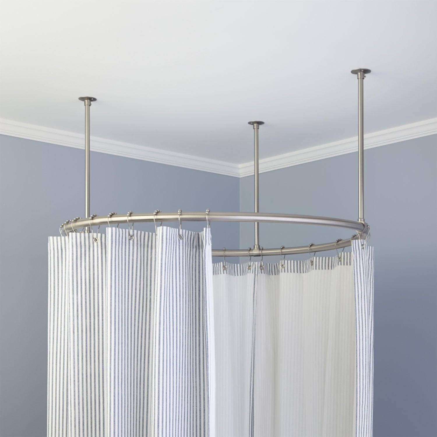 Shower Rod Light Duty Suspended Rod W Double Ceiling Support Curtain Rod Hardware Walmart