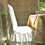 Ruffle 3-Tiered Dining Room Chair Slipcover-with-full-cotton-and-loose-slipcover-fit-type-also-Square-back-height-up-to-40