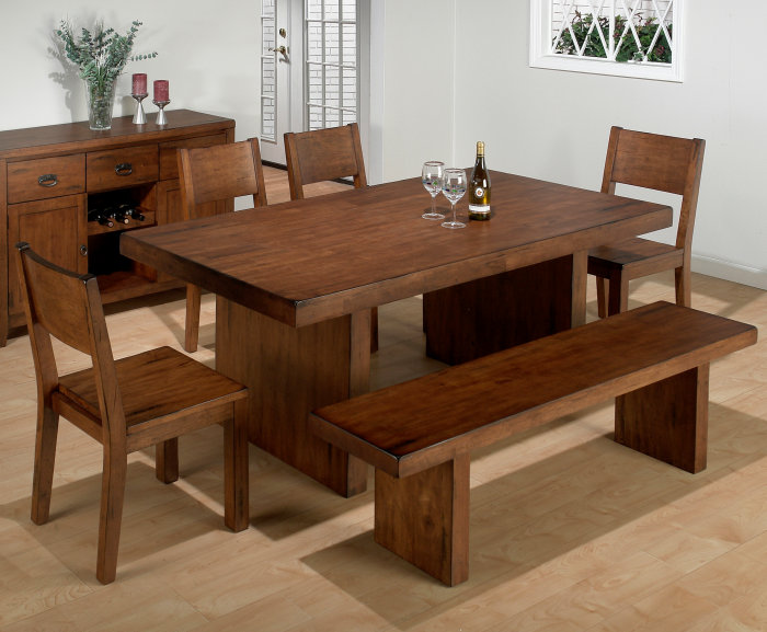 Dining room tables with benches homesfeed for Dining room table with bench