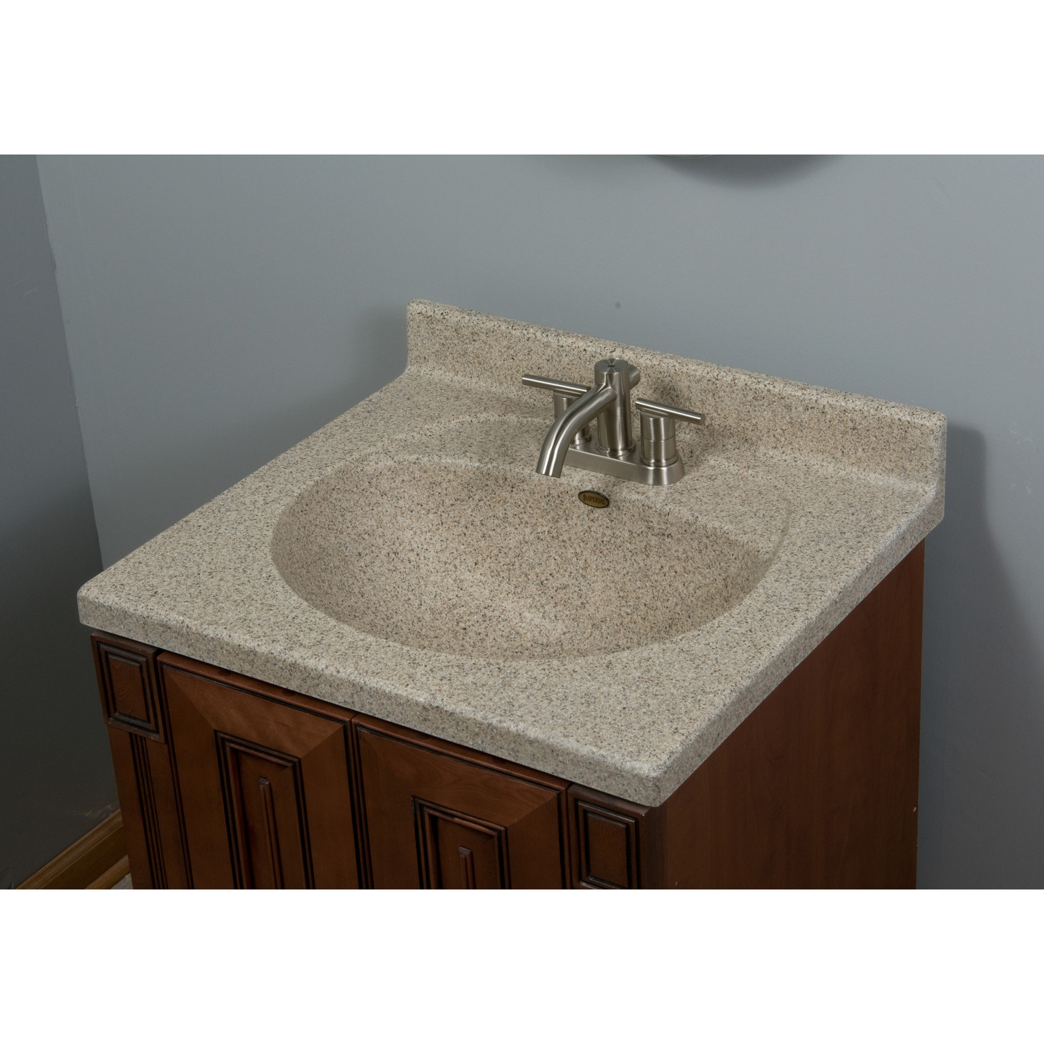 Satin Stone Vanity Tops With Small Cabinet On Grey Wall