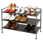 Seville-Classics-Utility-Shoe-Rack-in-Brown-color-with-3-shelves-and-metal-frame-material-and-features-foldablewith-easily-clean-with-dry-cloth