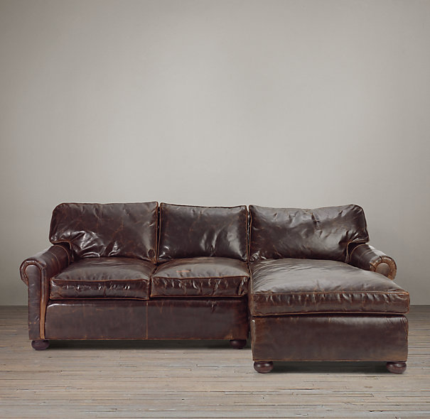 Shaby chic leather sectional with chaise in small size : leather sectionals with chaise - Sectionals, Sofas & Couches
