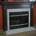 Simple And Modern Fireplace Kits With Grey Tile