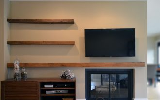 Simple Floating Shelf From Wood Near Tv And Fireplace WIth Cabinet And Its Shelf