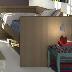 Simple Multifunctional Furniture Wooden Bed For Small Space With Chair